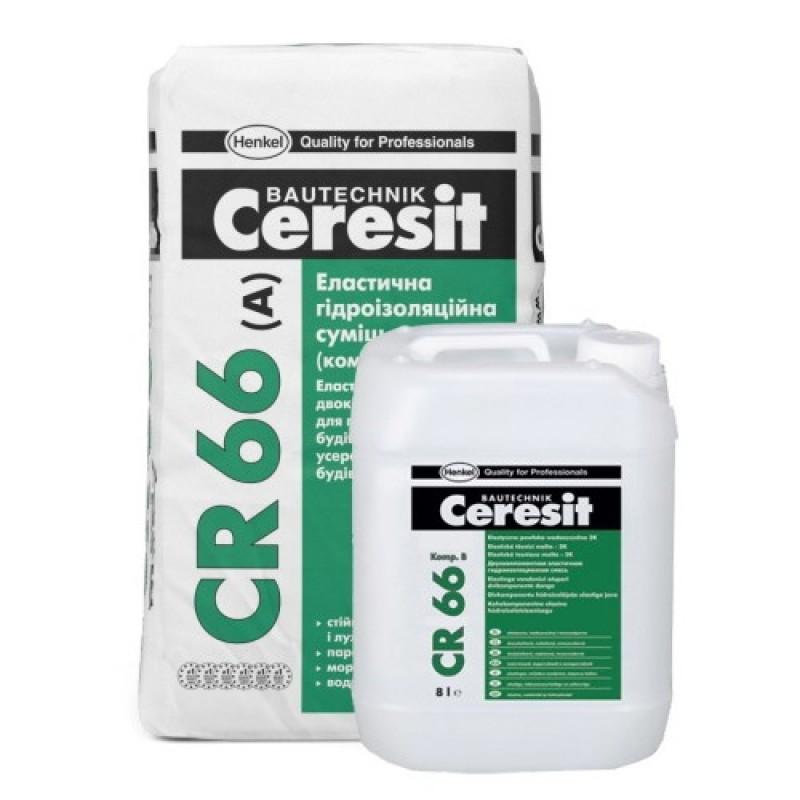 Гидроизоляция ЦЕРЕЗИТ (Ceresit) CR 66 эластичная двухкомпонентная (22,5кг)