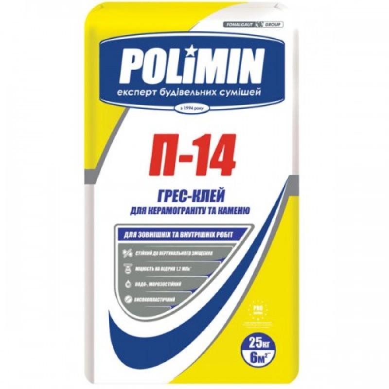 Клей для плитки, керамогранита Полимин П-14 (Polimin P-14) 25 кг