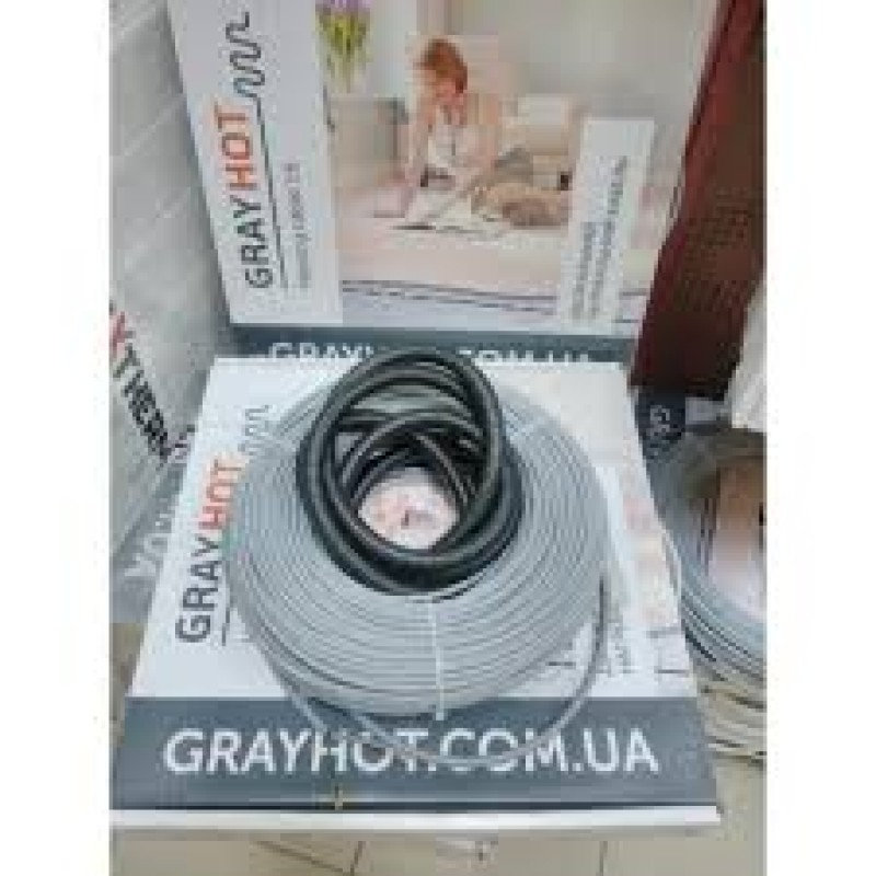 Двужильный нагревательный кабель в стяжку GRAYHOT(12,8-10,2-7,7м2)(Украина).
