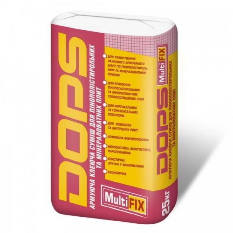 DOPS MultiFix Армуюча клейова суміш для пінополістирольних і мінераловатних плит 25кг