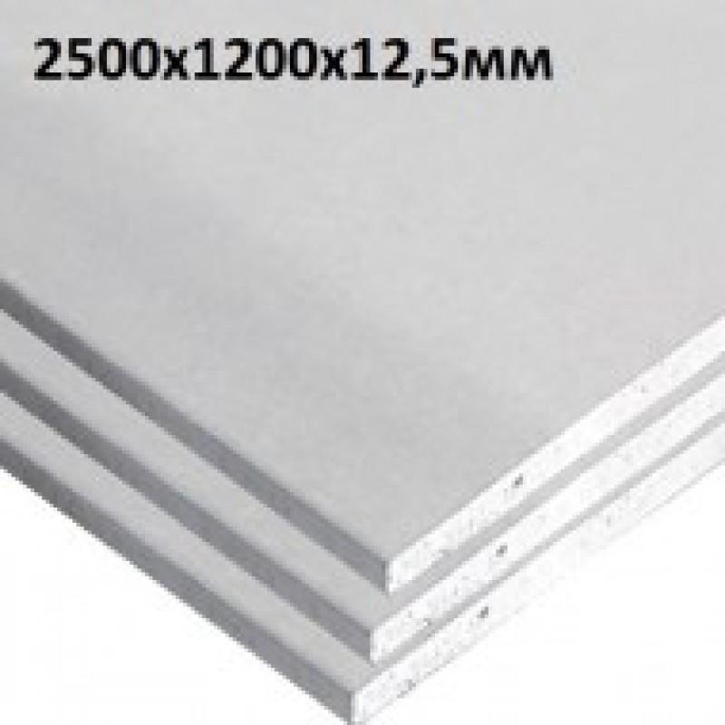 Гипсокартон стеновой Кнауф (KNAUF) ГКП 12,5Х1200Х2500 мм